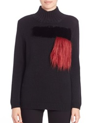 Sachin Babi Polos Faux Fur Turtleneck Sweater Jet