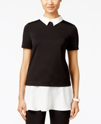 Eci Short Sleeve Layered Look Top Black White