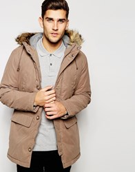 United Colors Of Benetton Parka With Faux Fur Hood Beige