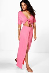 Boohoo Wrap Front Cut Out Maxi Dress Coral