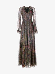 Etro Paisley Print Silk Blend Maxi Dress Multi Coloured