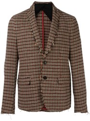 Msgm Houndstooth Pattern Blazer Brown