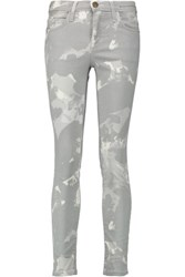 Current Elliott The Stiletto Printed Mid Rise Skinny Jeans Light Gray