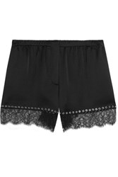 Alexander Wang Eyelet Embellished Lace Trimmed Silk Satin Shorts Black
