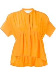 Victoria Victoria Beckham Pleated Short Sleeve Blouse Yellow And Orange