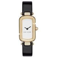 Marc Jacobs Women's Rectangular Leather Strap Watch Black White