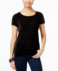 Inc International Concepts Velvet Stripe T Shirt Only At Macy's Deep Black