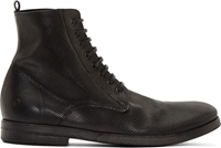 Marsell Black Perforated Leather Lace Up Boots