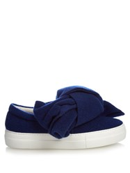 Joshua Sanders Felt Bow Slip On Platform Trainers Blue