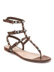 Valentino Multi Studded Leather Gladiator Thong Sandals Brown