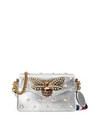 Gucci Broadway Pearly Bee Shoulder Bag Silver