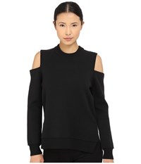 Vera Wang Cold Shoulder Pullover Double Face Knit Black Women's Sweater