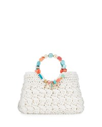 Capelli Of New York Cappelli Beaded Crochet Straw Satchel Bag White