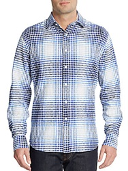 James Campbell Doba Plaid And Snake Print Cotton Sportshirt Blue
