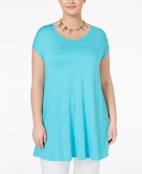 Ing Trendy Plus Size Tie Dyed Tunic T Shirt Moroccan Teal