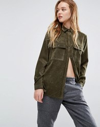 Native Youth Boxy Shirt In Corduroy Olive Green