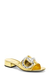 Gucci 'Maxime' Jeweled Slide Sandal Women Gold Leatehr