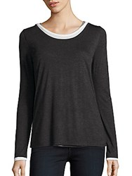 Saks Fifth Avenue Roundneck Long Sleeve Top Grey