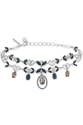 Oscar De La Renta Silver Plated Crystal Necklace