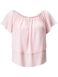 Miss Selfridge Petite Frill Bardot Top Pink