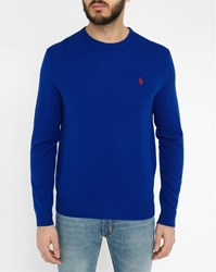 Polo Ralph Lauren Royal Blue Lambswool Zipped Round Neck Sweater