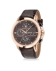 Maserati Ingegno Rose Gold Tone Stainless Steel Case And Brown Embossed Leather Strap Men's Chrono Watch