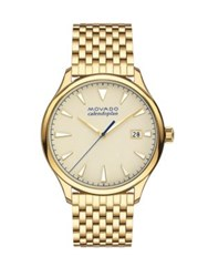Movado Heritage Yellow Gold Ion Plated Stainless Steel Bracelet Watch Beige Dial