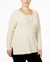 Charter Club Plus Size Textured Sweater Only At Macy's Sweet Cream Combo