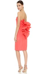 Marchesa Strapless Cocktail Dress Coral