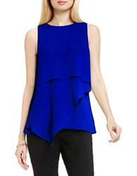 Vince Camuto Asymmetrical Layered Blouse Optic Blue