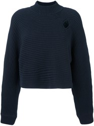 Alexander Wang Mock Neck Cropped Jumper Blue