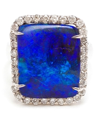Kimberly Mcdonald 18Kt White Gold Boulder Opal And Diamond Ring Blue