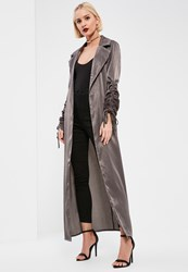 Missguided Tall Exclusive Grey Ruched Sleeve Satin Duster Coat Brown