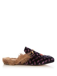 Gucci Princetown Fur Lined Velvet Backless Loafers Purple Multi