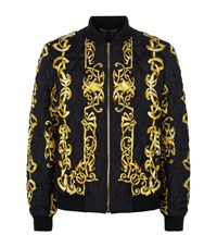 Versace Iconic Baroque Silk Bomber Jacket Male