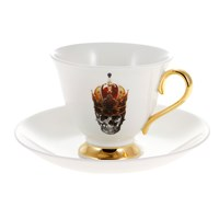Melody Rose Skull In Red Crown Teacup And Saucer