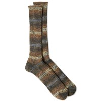 Anonymous Ism Stripe Rib Marl Sock Brown