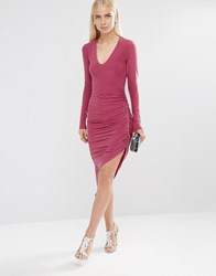 Club L Essentials Long Sleeve Ruched Pencil Dress Rhubarb Pink