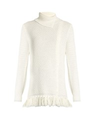 Proenza Schouler Fringed Hem Knit Sweater Cream