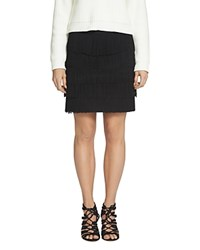 1.State Tiered Fringe Ponte Mini Skirt Rich Black