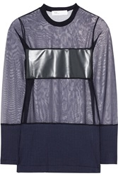 Toga Rubber And Jersey Paneled Mesh Top Blue