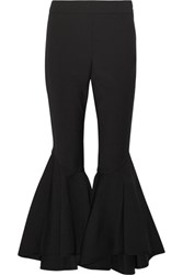 Ellery Sinuous Cropped Stretch Crepe Flared Pants Black