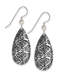 Jody Coyote Textured Teardrop And Austrian Crystal Pearl Bead Earrings