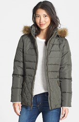Women's Larry Levine Faux Fur Trim Down And Feather Fill Parka Loden