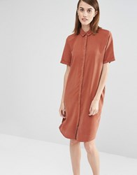 Selected Vilo Short Sleeved Shirt Dress Brown