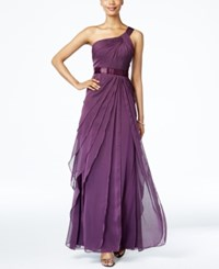 Adrianna Papell One Shoulder Tiered Chiffon Gown Currant