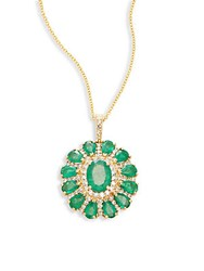 Effy Emerald Diamond And 14K Yellow Gold Pendant Necklace Gold Green