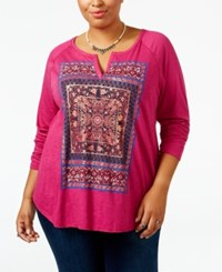 Lucky Brand Trendy Plus Size Tapestry Graphic T Shirt Festival Fuschia