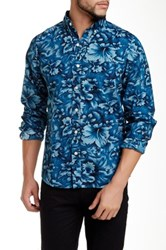 Kennington Lost Flower Long Sleeve Slim Fit Shirt Blue