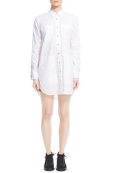 Alexander Wang Snap Front Cotton Poplin Shirtdress White